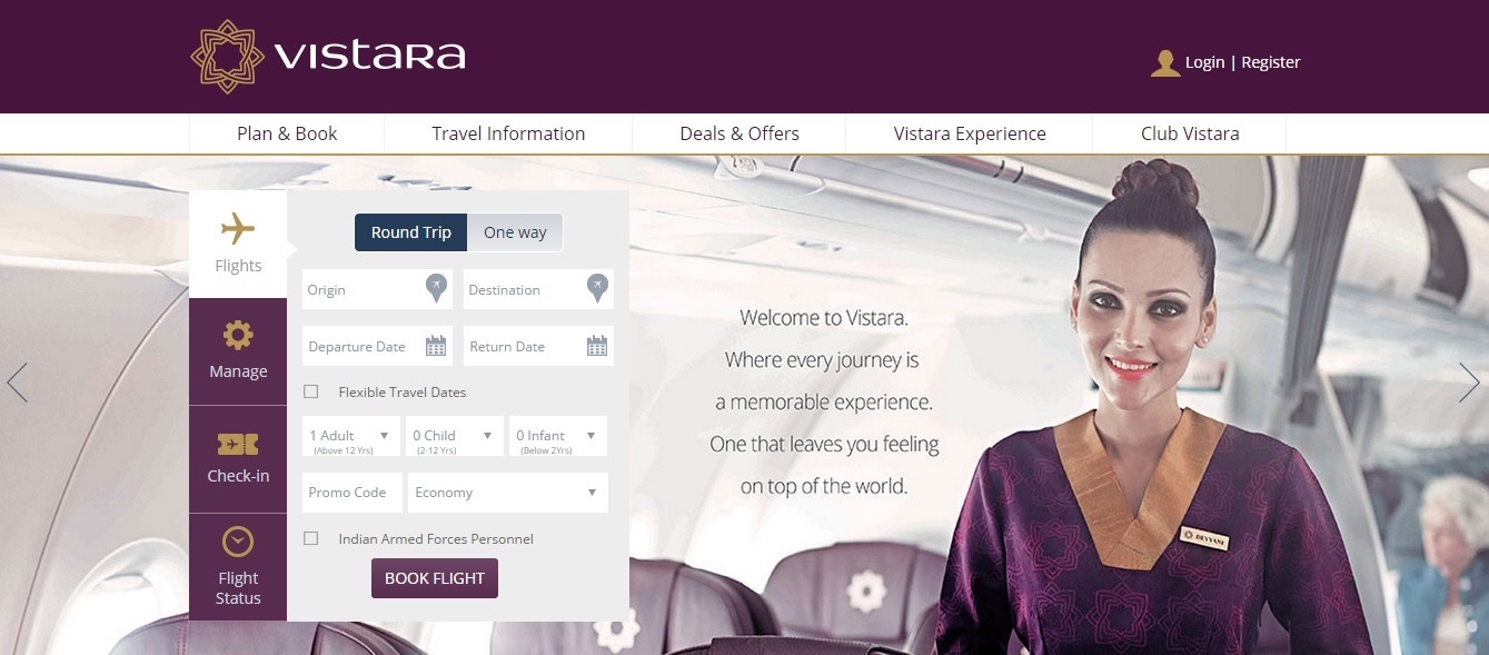 Vistara Airlines Flight Ticket Booking